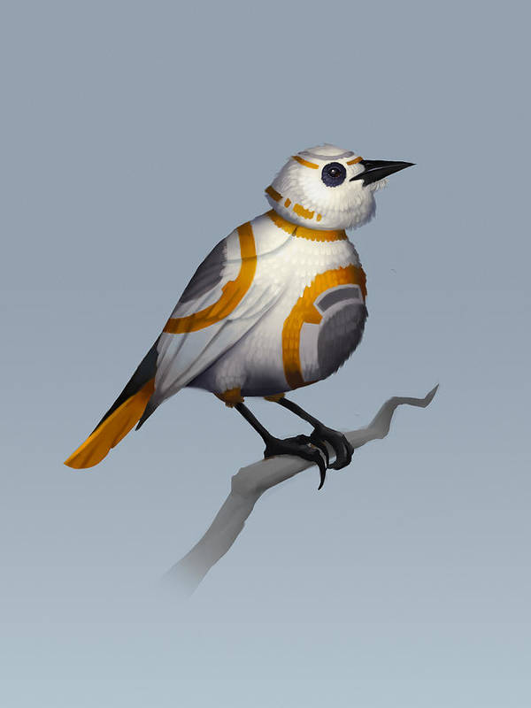 Birds Poster featuring the digital art BB Bird by Michael Myers