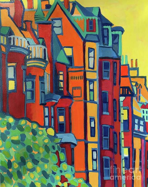 Architecture Poster featuring the painting Beacon Street Back Bay Boston by Debra Bretton Robinson