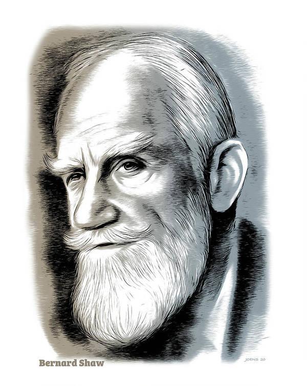 Bernard Shaw Poster featuring the mixed media Bernard Shaw - Mixed Media by Greg Joens