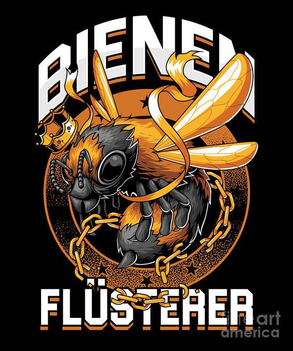 Bee Poster featuring the digital art Bienen Flsterer Bee Beekeeper Honeycomb Gift by Thomas Larch