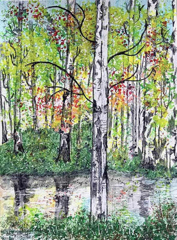 Birch Trees Poster featuring the painting Birch Trees in The Fall by Kathy Marrs Chandler