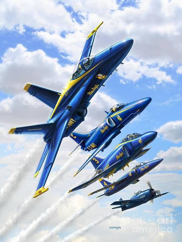 Blue Angels Poster featuring the digital art Blue Angels Heritage by Stu Shepherd