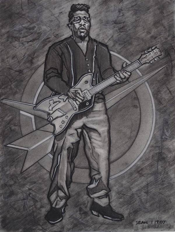 Texas Poster featuring the drawing Bo Diddley - Have Guitar Will Travel by Sean Connolly