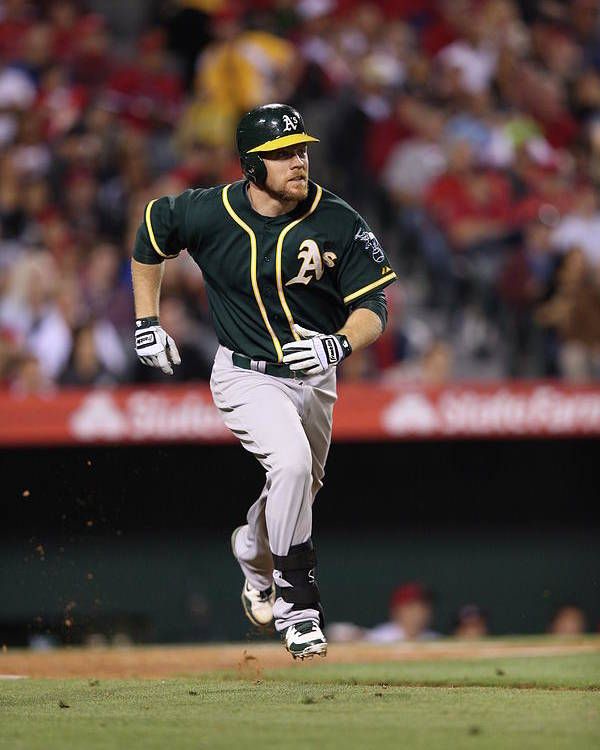 American League Baseball Poster featuring the photograph Brandon Moss by Paul Spinelli