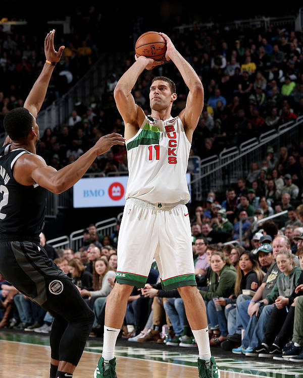 Nba Pro Basketball Poster featuring the photograph Brook Lopez by Gary Dineen
