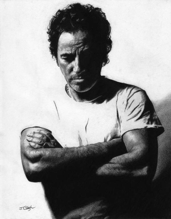 Bruce Springsteen Poster featuring the drawing Bruce Springsteen by Justin Clark