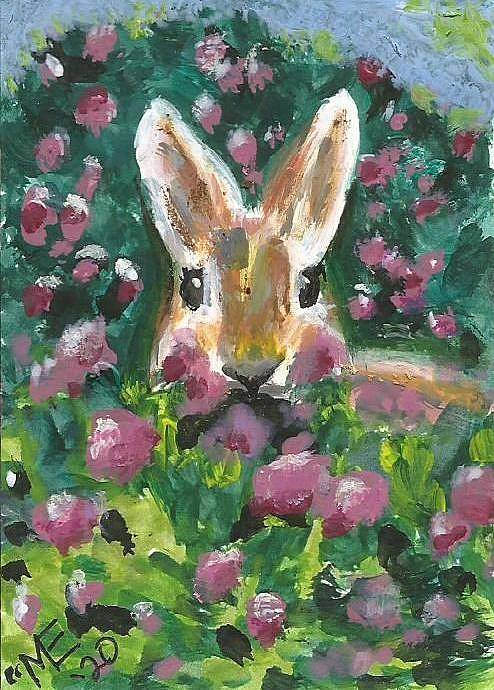 Bunny Painting Poster featuring the painting Bunny by Monica Resinger