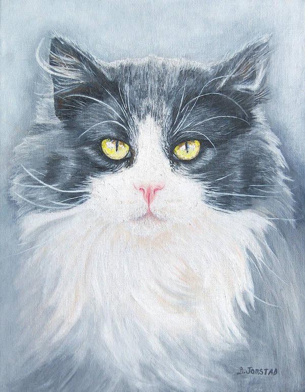 Pet Portrait Artist Poster featuring the painting Cat Print Pet Portrait Artist For Hire Commission by Diane Jorstad