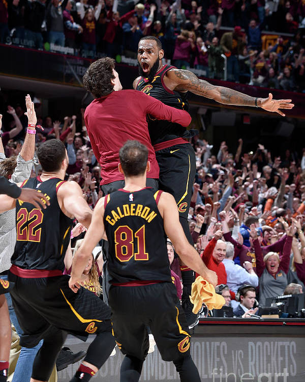 Playoffs Poster featuring the photograph Cedi Osman and Lebron James by David Liam Kyle