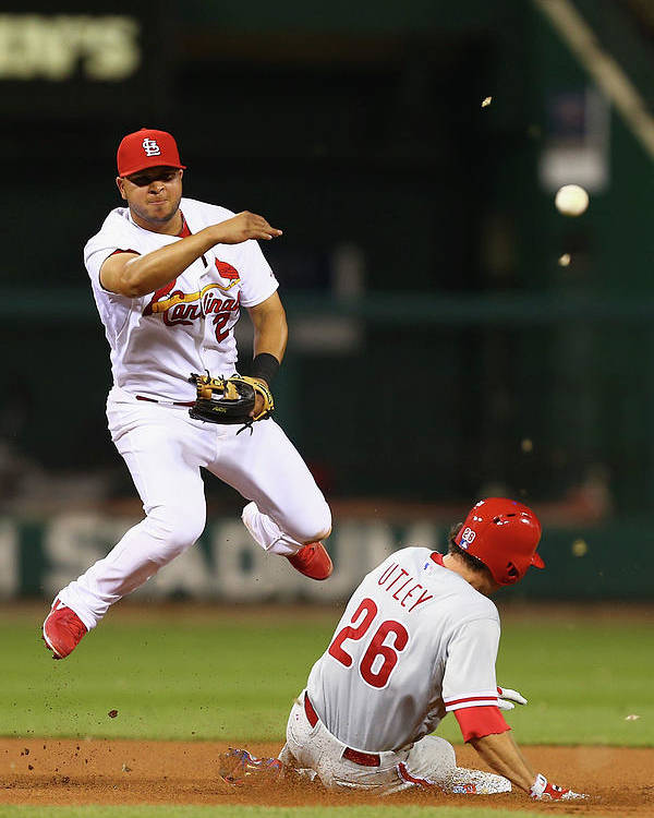 St. Louis Cardinals Poster featuring the photograph Chase Utley and Jhonny Peralta by Dilip Vishwanat