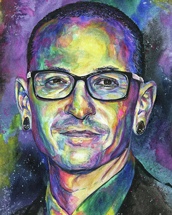 Chris Cornell Poster featuring the painting Chester by Nate Michaels