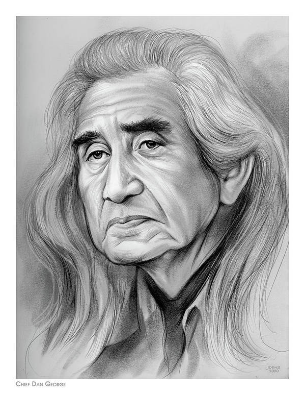 Chief Dan George Poster featuring the drawing Chief Dan George - Pencil by Greg Joens