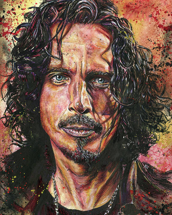 Chris Cornell Poster featuring the painting Chris by Nate Michaels