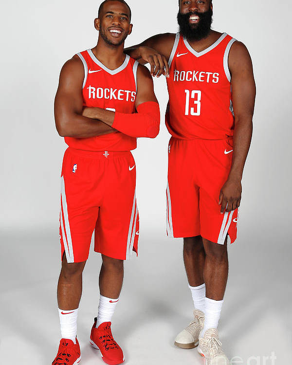 Media Day Poster featuring the photograph Chris Paul and James Harden by Nba Photos