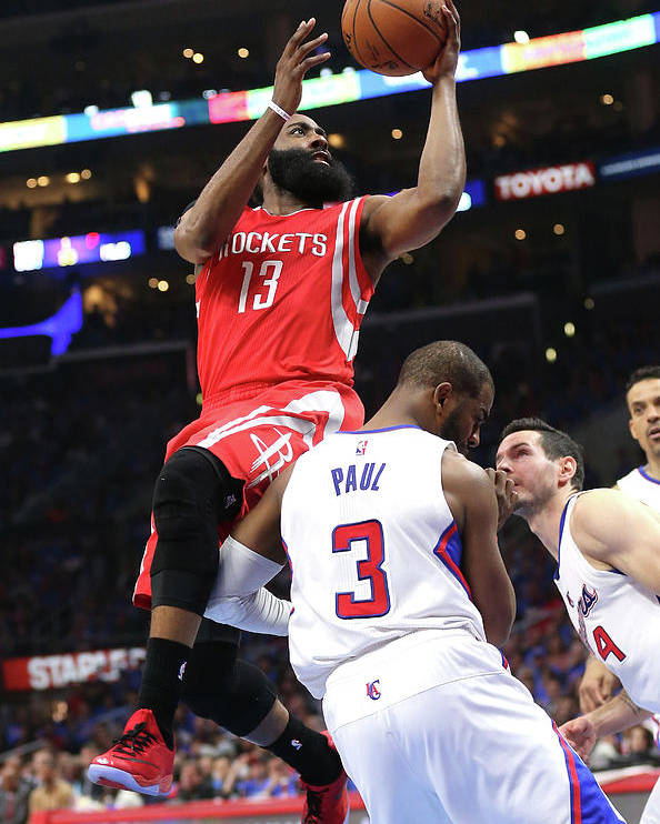 Playoffs Poster featuring the photograph Chris Paul and James Harden by Stephen Dunn