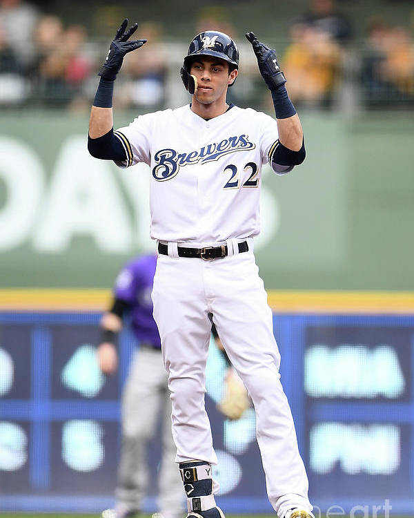 People Poster featuring the photograph Christian Yelich by Stacy Revere