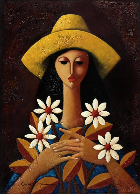 Puerto Rico Poster featuring the painting Cinco Margaritas by Oscar Ortiz