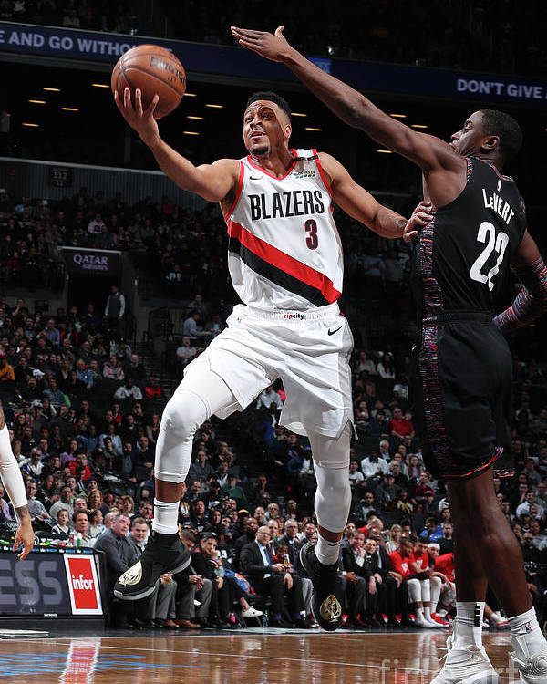 Nba Pro Basketball Poster featuring the photograph C.j. Mccollum and Caris Levert by Nathaniel S. Butler