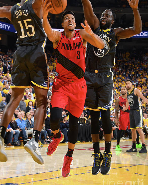 Game Two Poster featuring the photograph C.j. Mccollum by Andrew D. Bernstein