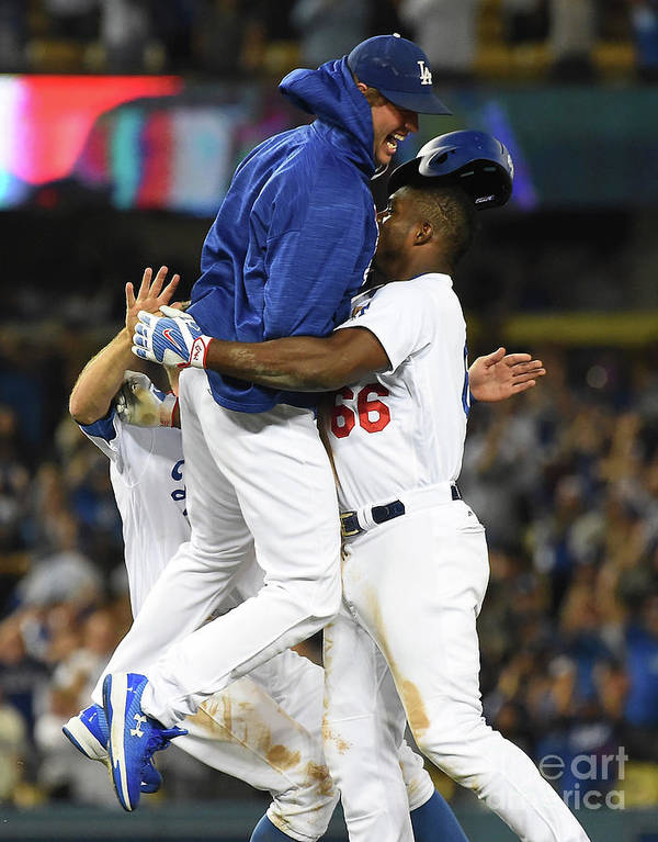 Ninth Inning Poster featuring the photograph Clayton Kershaw and Yasiel Puig by Jayne Kamin-oncea