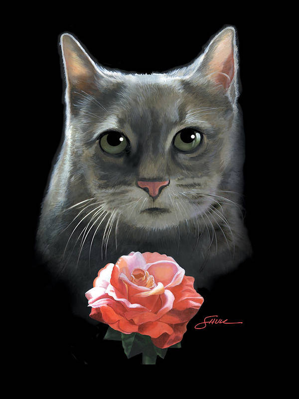 #cat Poster featuring the painting Cleo And The Rose by Harold Shull