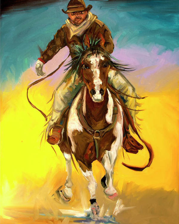 Cowboy Poster featuring the painting Coming at You by Diane Whitehead