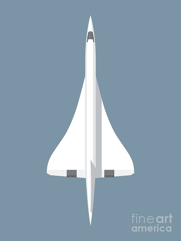 Concorde Poster featuring the digital art Concorde Jet Passenger Airplane Aircraft - Slate by Organic Synthesis