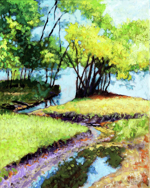 Trees Poster featuring the painting Creve Coeur Stream by John Lautermilch