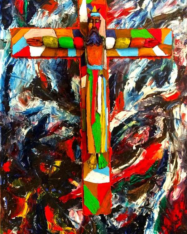 Crucifixion Poster featuring the mixed media Crucifixion by Biagio Civale