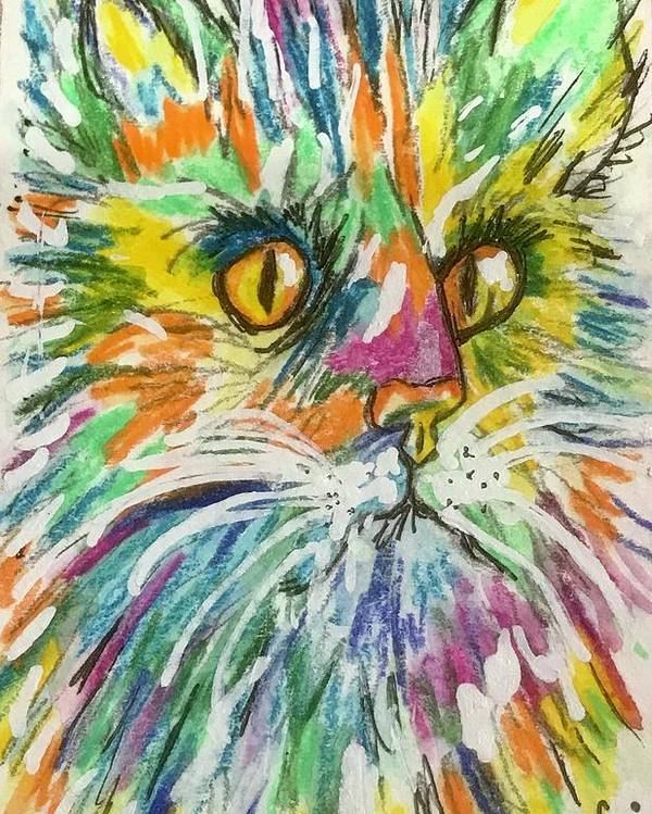Colorful Cat Poster featuring the painting Curious Cat by Kathy Marrs Chandler