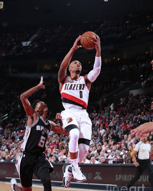 Nba Pro Basketball Poster featuring the photograph Damian Lillard and Dejounte Murray by Sam Forencich