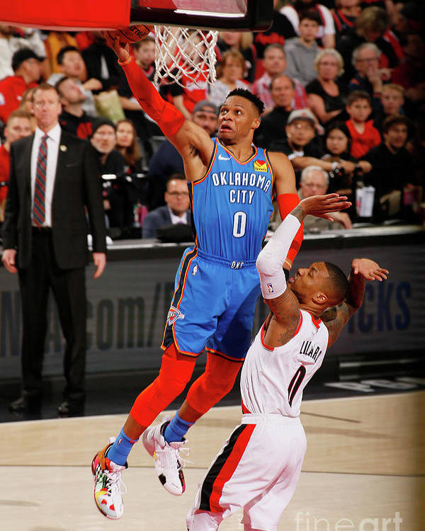 Playoffs Poster featuring the photograph Damian Lillard and Russell Westbrook by Cameron Browne