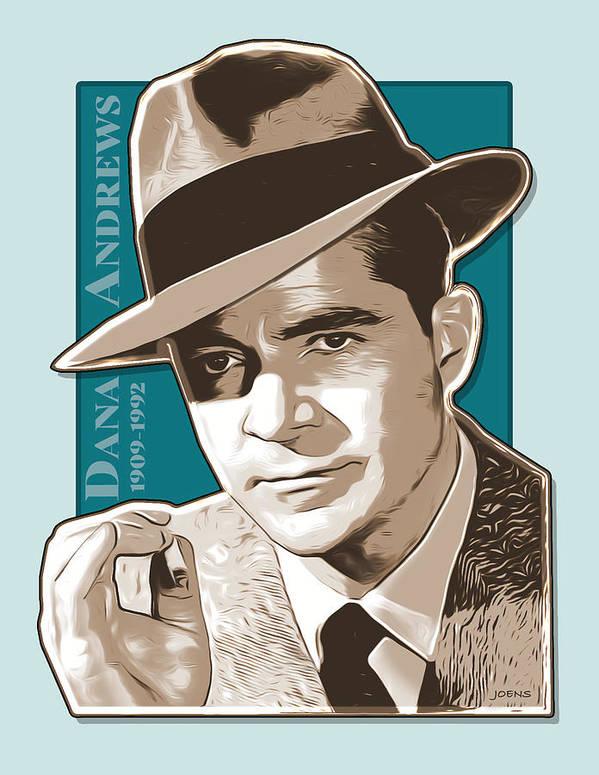 Dana Andrews Poster featuring the digital art Dana Andrews Pop Art by Greg Joens
