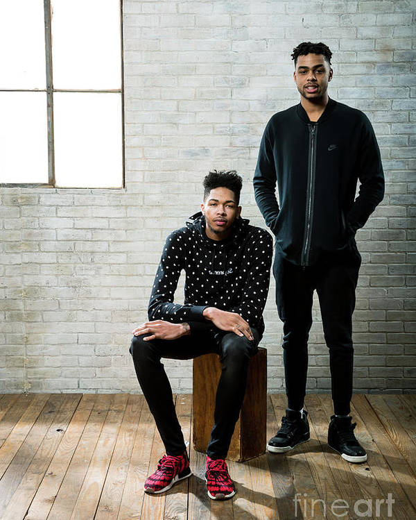 Nba Pro Basketball Poster featuring the photograph D'angelo Russell and Brandon Ingram by Nathaniel S. Butler