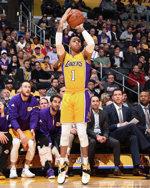 Nba Pro Basketball Poster featuring the photograph D'angelo Russell by Andrew D. Bernstein