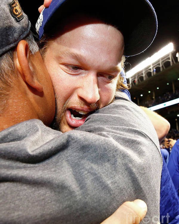 Championship Poster featuring the photograph Dave Roberts And Clayton Kershaw by Jamie Squire
