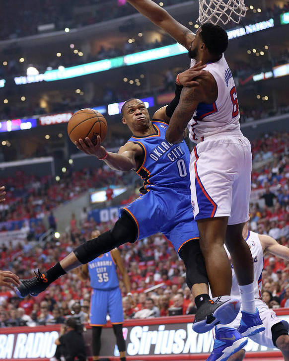 Playoffs Poster featuring the photograph Deandre Jordan and Russell Westbrook by Stephen Dunn