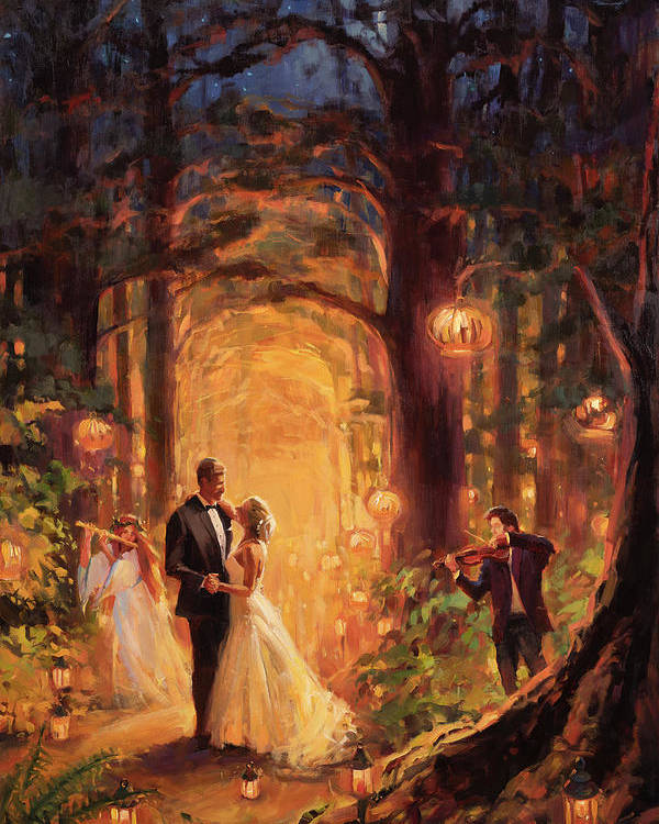 Wedding Poster featuring the painting Deep Forest Wedding by Steve Henderson