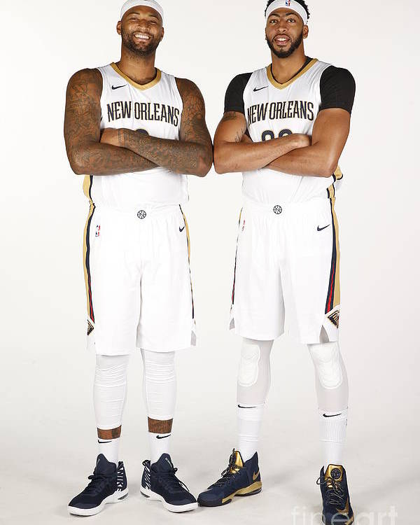 Media Day Poster featuring the photograph Demarcus Cousins and Anthony Davis by Jonathan Bachman