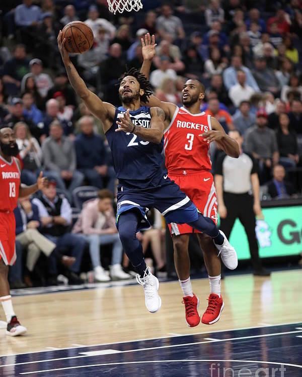 Nba Pro Basketball Poster featuring the photograph Derrick Rose and Chris Paul by Jordan Johnson