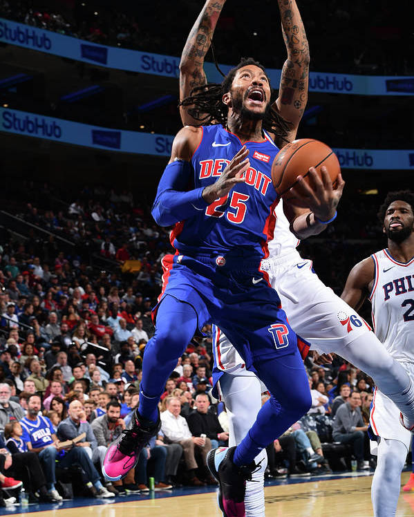 Nba Pro Basketball Poster featuring the photograph Derrick Rose and Joel Embiid by David Dow
