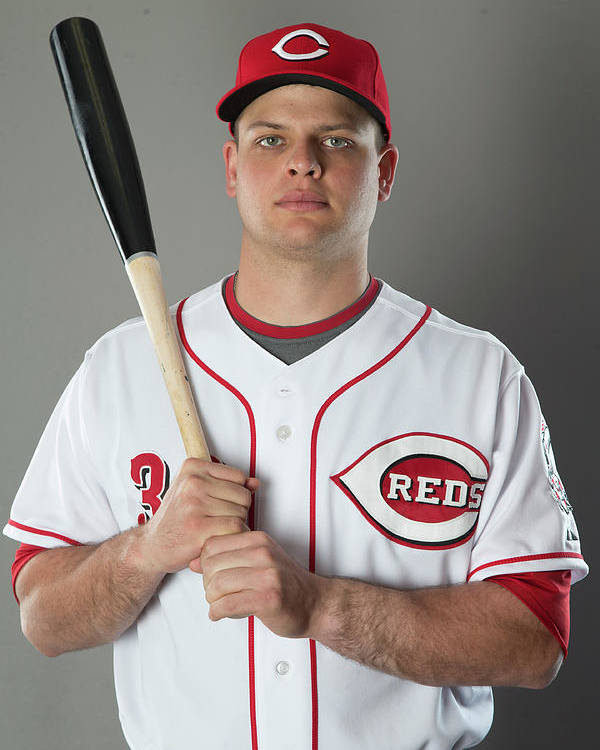 American League Baseball Poster featuring the photograph Devin Mesoraco by Mike Mcginnis