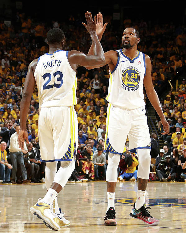 Playoffs Poster featuring the photograph Draymond Green and Kevin Durant by Nathaniel S. Butler