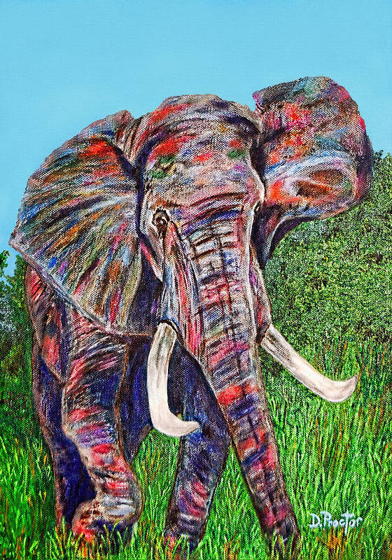 Elephant Poster featuring the painting Elephant Aura by Donna Proctor