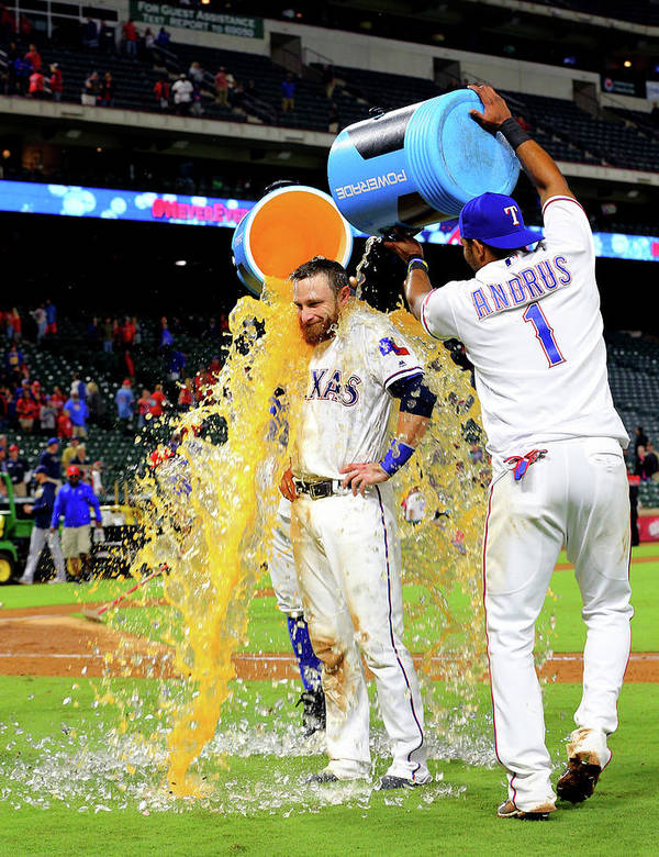 People Poster featuring the photograph Elvis Andrus and Jonathan Lucroy by Rick Yeatts