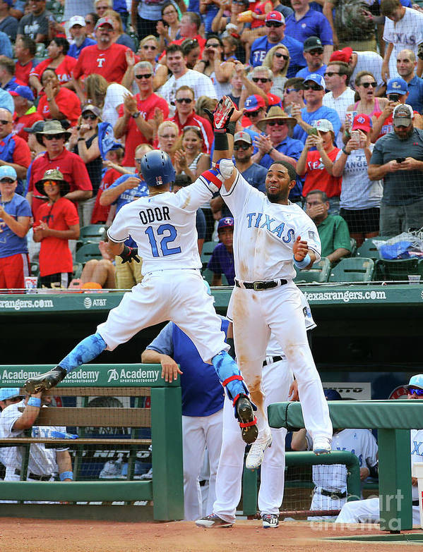 People Poster featuring the photograph Elvis Andrus and Rougned Odor by Rick Yeatts