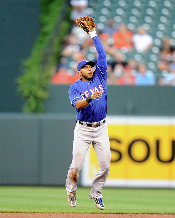 Second Inning Poster featuring the photograph Elvis Andrus and Ryan Flaherty by Greg Fiume