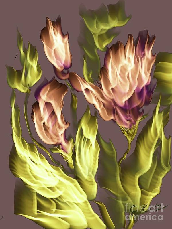 Flowers Poster featuring the digital art En Fuego by Gail Kirtz