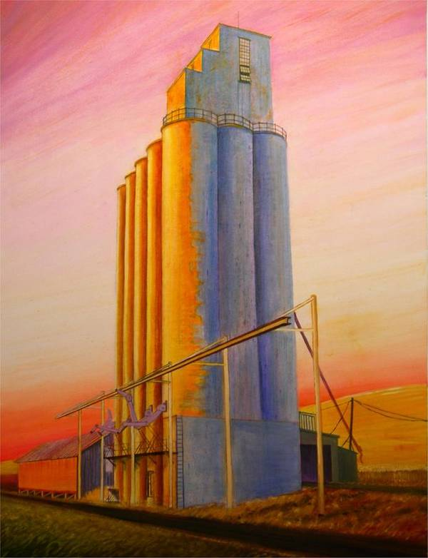 Grain Poster featuring the painting Endicotte Silos by Leonard Heid