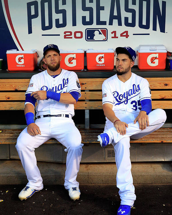 American League Baseball Poster featuring the photograph Eric Hosmer and Alex Gordon by Jamie Squire